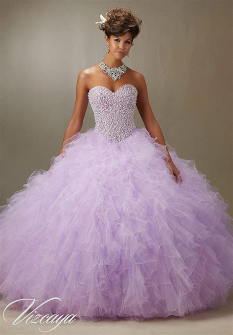 pearl beaded bodice  light purple ruffled tulle princess