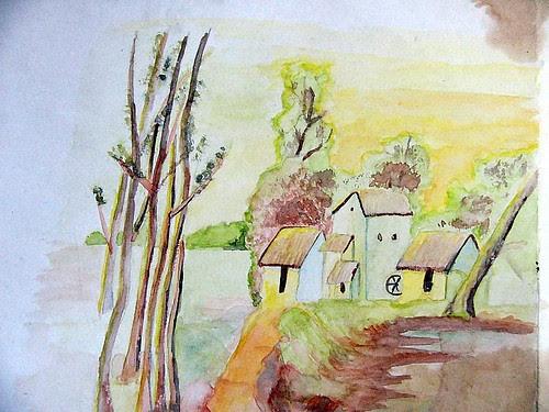 water colour village