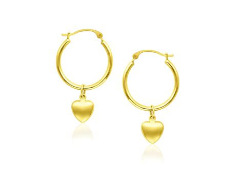 hoop  puffed heart charm earrings   yellow gold