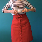 Red Button Front Skirt