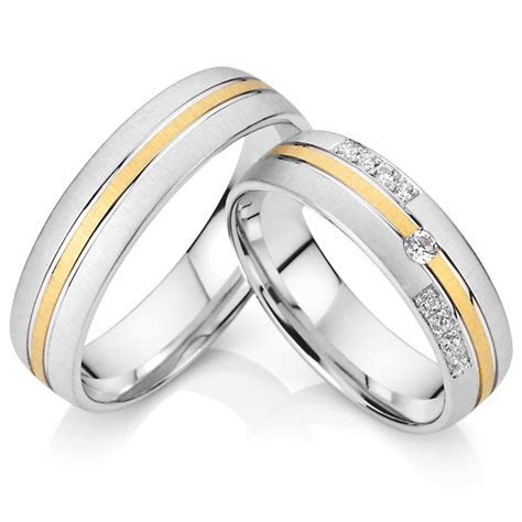 pure titanium CZ diamond engagement wedding rings pair men
