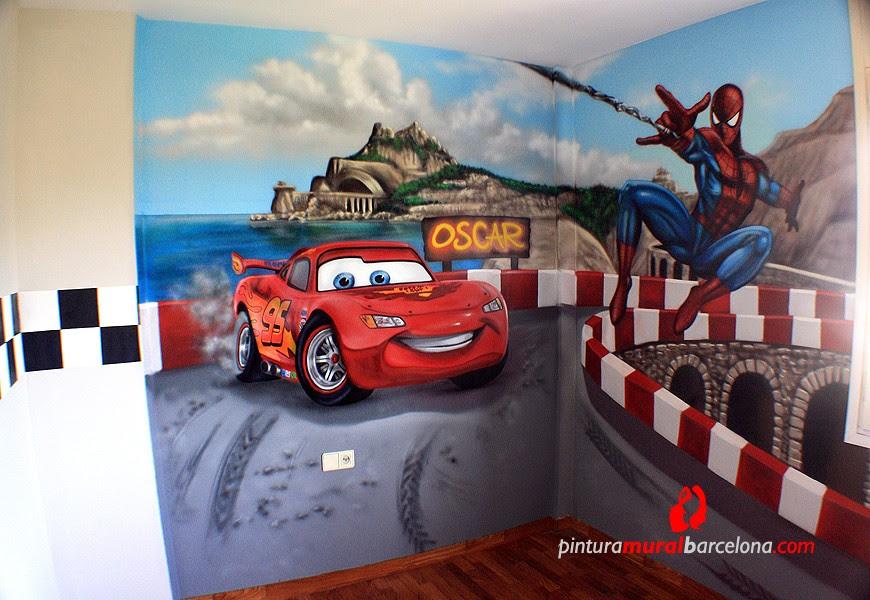 Mural Cars Y Spiderman Habitacion Infantil 2014 Pintura Mural
