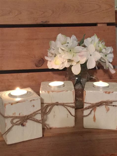 Wood block tealight candle holder Rustic Country home