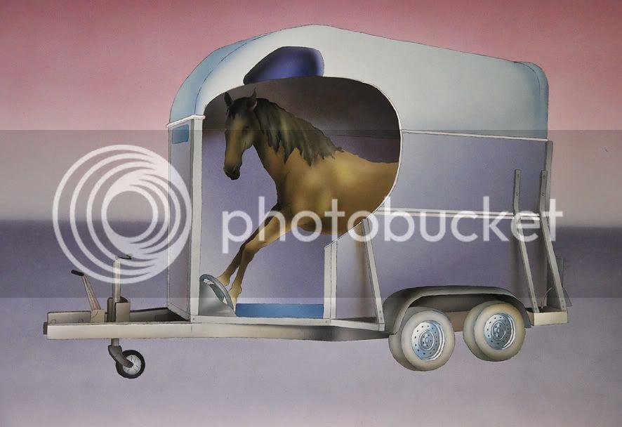 Dessin surprenant d'art contemporain à l'aérographe inattendu par pierre guilhem c'est un dessin de cheval à l'intérieur d'un van a chevaux, Dessin surprenant d'art contemporain à lâ��aérographe inattendu par pierre guilhem c'est un dessin de cheval à lâ��intérieur d'un van a chevaux