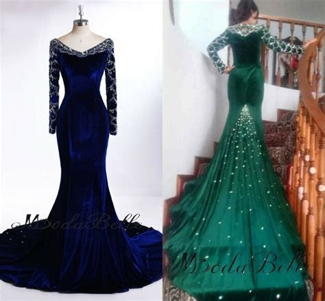 custom  long sleeve evening dress emerald green