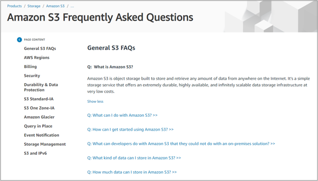 Amazon S3 FAQ Page