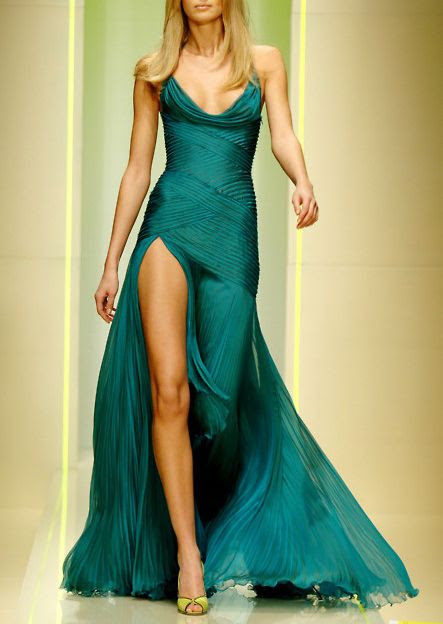 Emerald pleated dress with cowl neckline, leg slit... If I ever have the perfect body, I might wear something like this, with a smaller leg slit :P