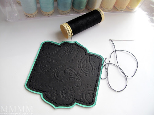 9 Pressure emboss the black cardstock (paisley folder) and squish the embossing to make it more flat - tutorial here