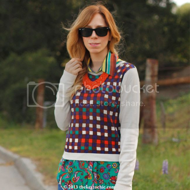Duro Olowu for JCPenney blouse and plaid sweater, Los Angeles fashion blog