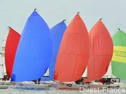 J/70s sailing SPI Ouest France off La Trinite sur Mer, France