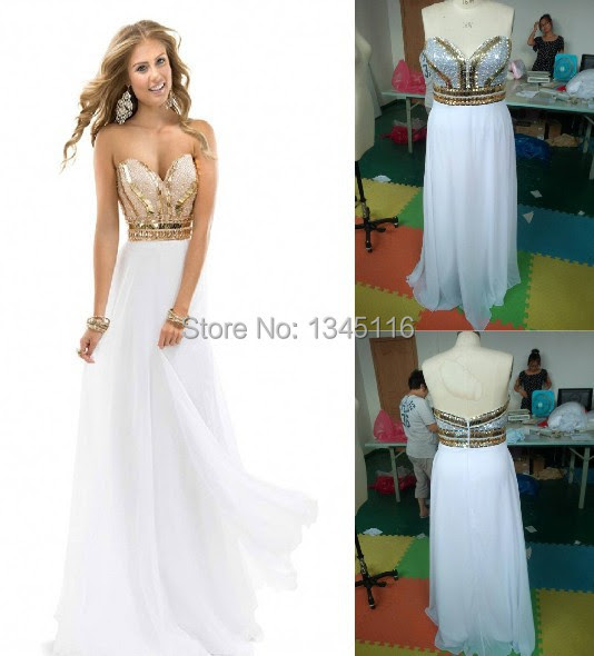2016 New Elegant women Noble sequins Beads Sweetheart White Gold Party prom Gown Long Chiffon Formal