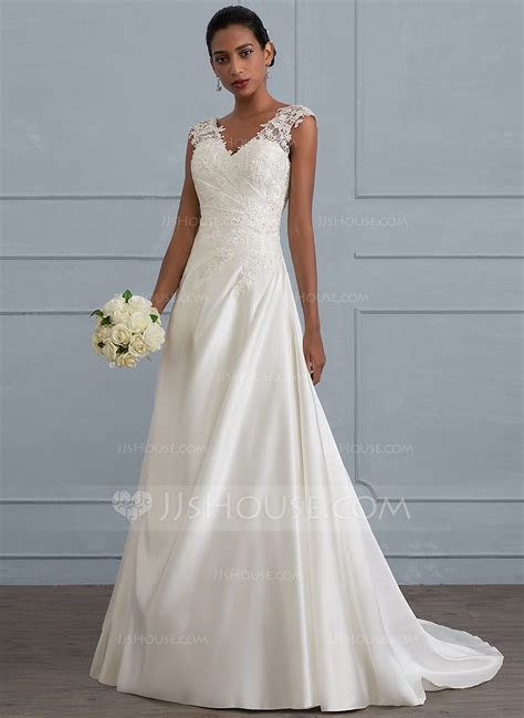 Ball Gown V neck Sweep Train Satin Wedding Dress With