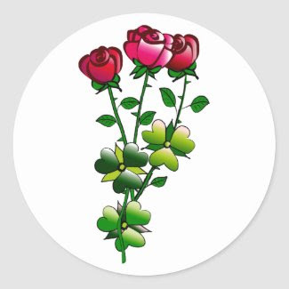 Glossy Round Stickers with Roses
