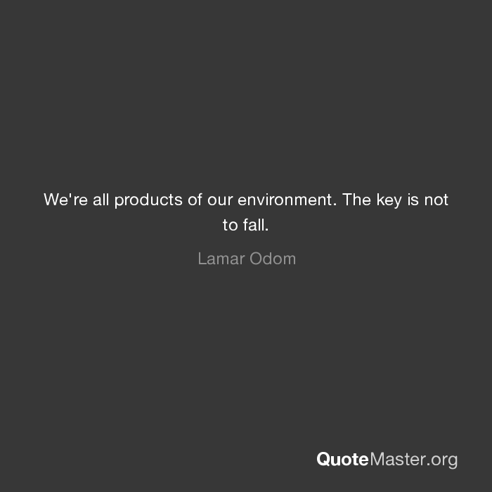 Were All Products Of Our Environment The Key Is Not To Fall Lamar