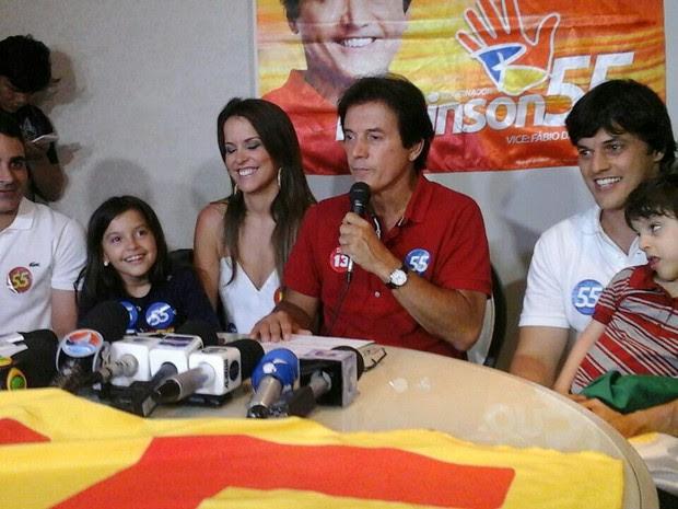 Robinson Faria (PSD) em coletiva após vitória para governo do RN (Foto: Elias Medeiros/G1)