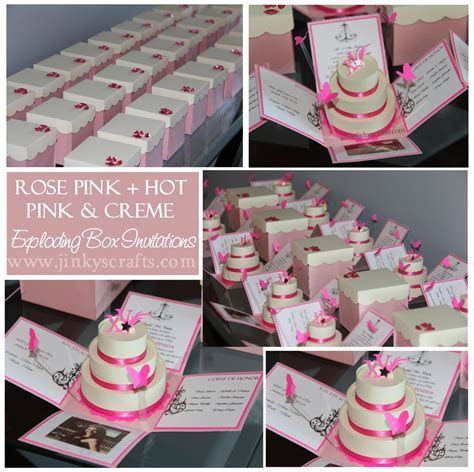 Pink & Creme Mis Quince Exploding Box/ Pop Up Invitations