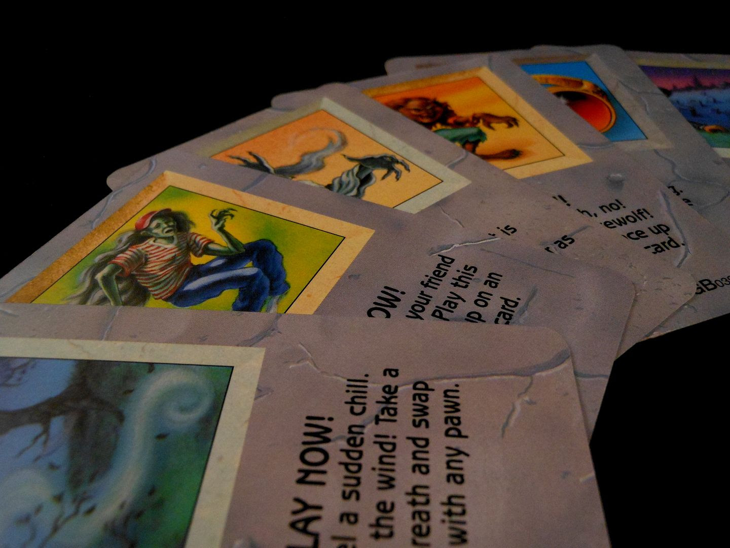 An attractive arrangement of cards from the Goosebumps Terror in the Graveyard board game.