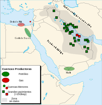 Map of oil and natural gas in Middle East.