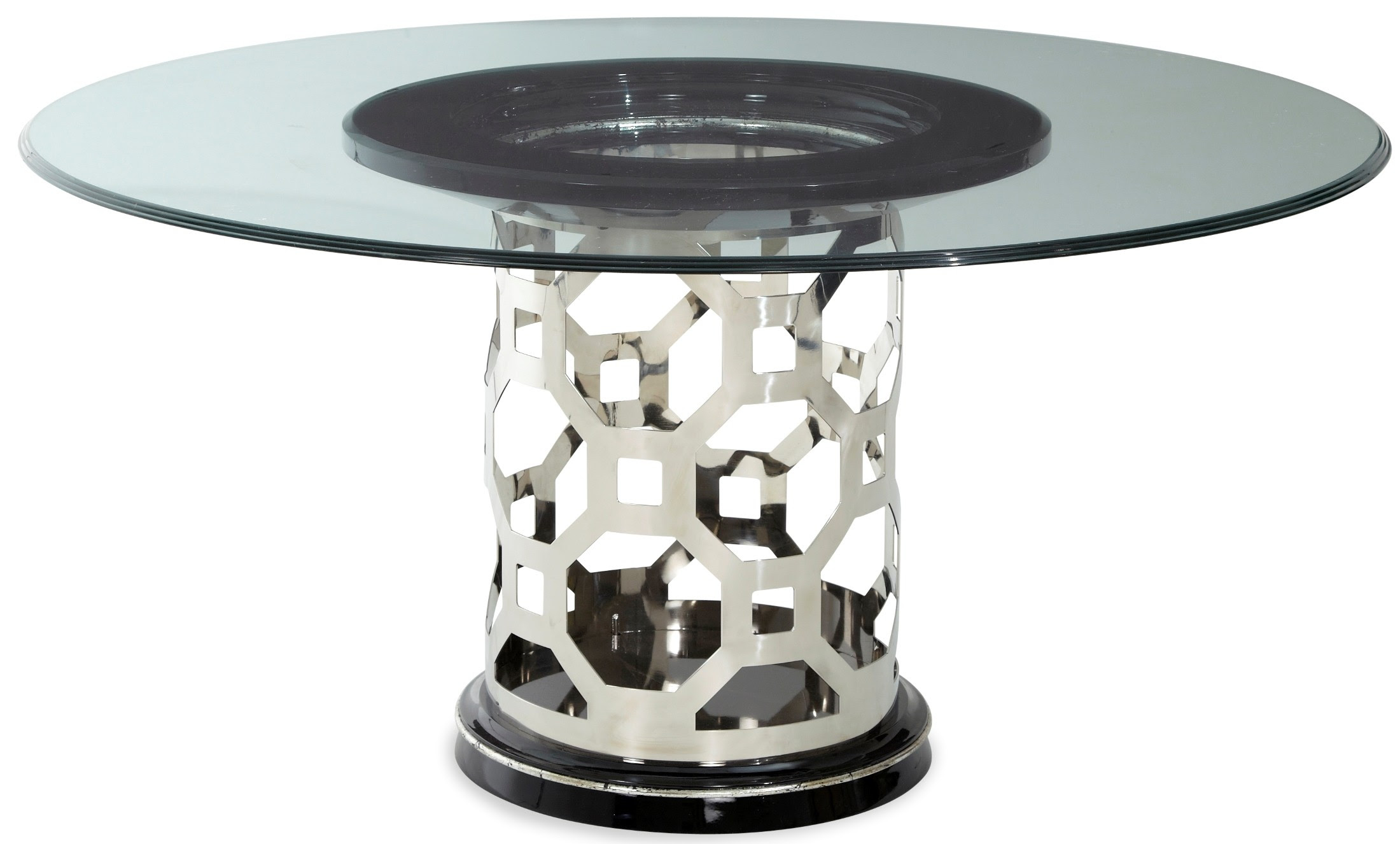 """After Eight Titanium 60"""" Round Glass Top Dining Table from ..."""