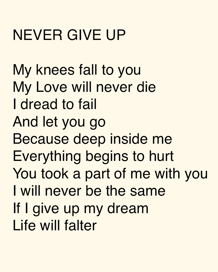 Never Give Up Poems About Love