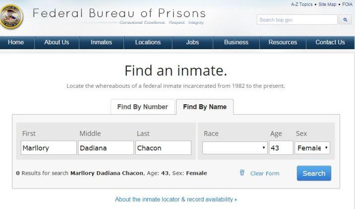 El Departamento Federal de Prisiones no muestra registros públicos de Marllory Chacón (Panam Post)