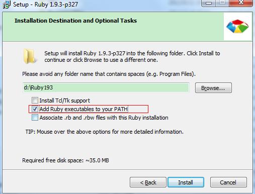 """确保勾选 """"Add Ruby executables to your PATH"""""""