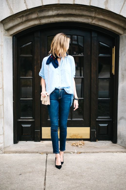 Le Fashion Blog Blogger Style Silk Neck Scarf Oversized Blue Button Down Shirt Nude Chanel Bag Skinny Jeans Black Pumps Via See Anna Jane