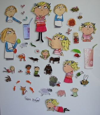 Turning torn or worn storybooks into fridge magnets, which can be used to tell more stories. Great idea!