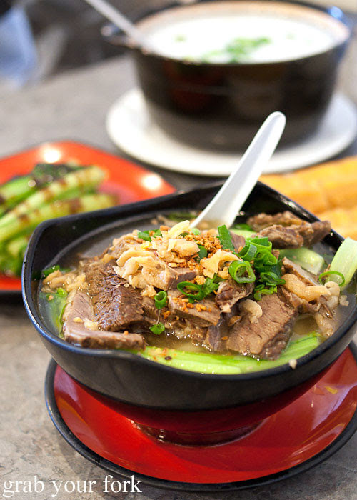 braised beef in clear noodle soup at 375 congee noodle house, chatswood