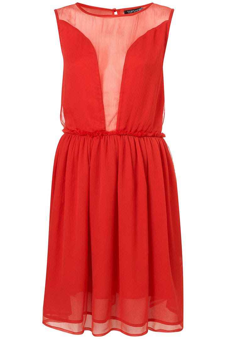 TopShop Red Chiffon Dress