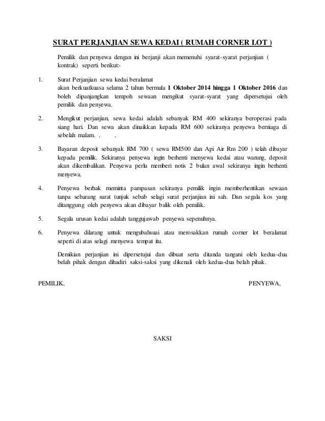 contoh surat agreement sewa rumah surat f