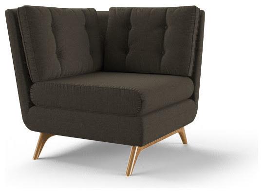 Eastwood Corner Chair  Cordova Eclipse Gray  Midcentury