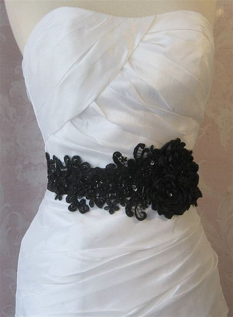 Black Bridal Sash, Wedding Belt with Handmade Flowers