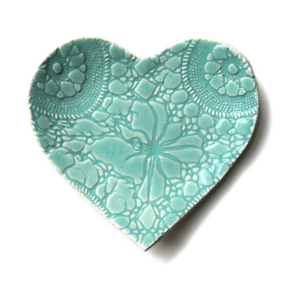 Seafoam heart plate in turquoise blue stoneware ceramic pottery ...