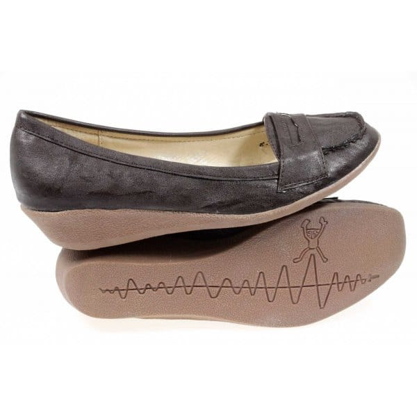 Shuperb BELLA Ladies Penny Loafer Wedge Heel Shoes Brown ...