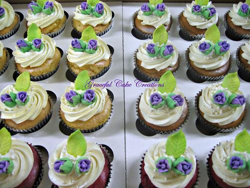 Lavender Rosebud Wedding Cupcakes