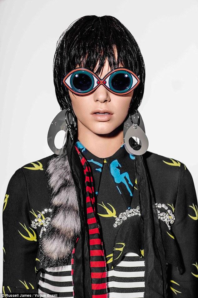 Wigging out: She slightly resembled her famous mother Kris Jenner in a fringe black wig