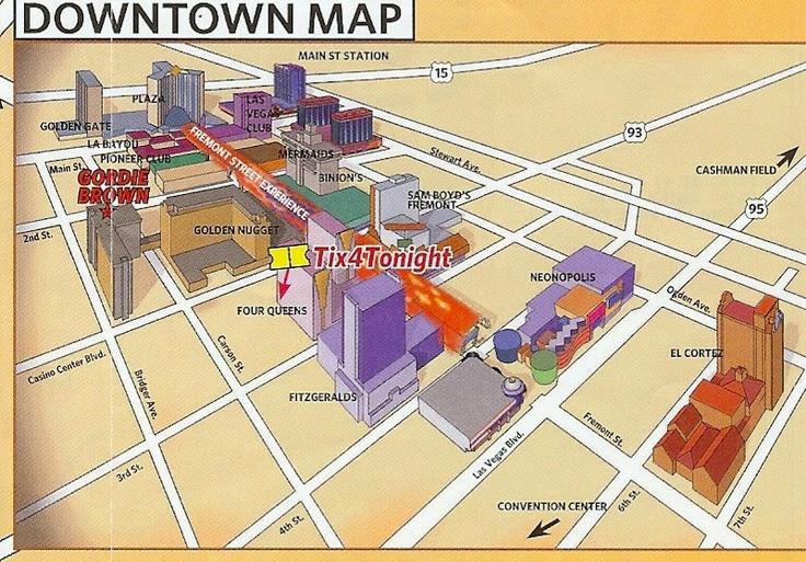 Downtown Fremont Street Hotels Map Downtown Las Vegas
