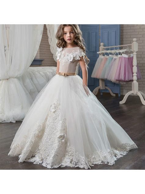 Cap Sleeves Lace Tulle Princess Ball Gown Flower Girl