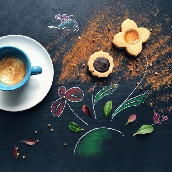flowers morning coffee with cookies illustration