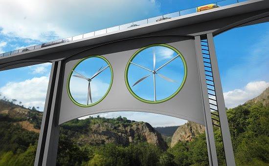 Turbinas gêmeas aproveitam ventos sob pontes e viadutos