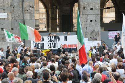 Presidio a Milano per la libertà di stampa