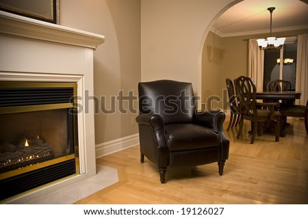 Interior Design Fireplace Leather Chair And Dining Room Stock ...