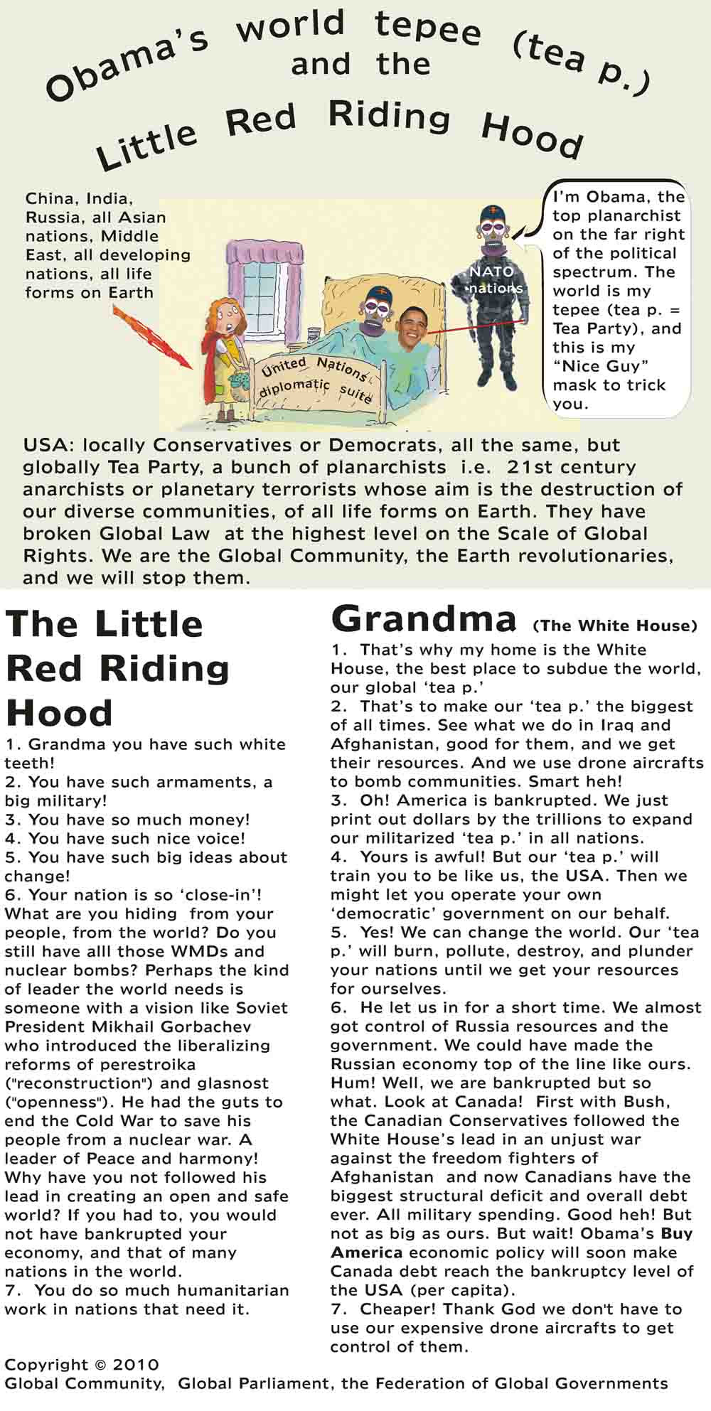Obama s  world  tepee  (tea p. - Tea Party) and the  Little  Red  Riding  Hood