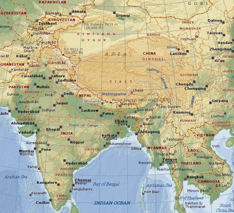 Carte Chine Himalaya