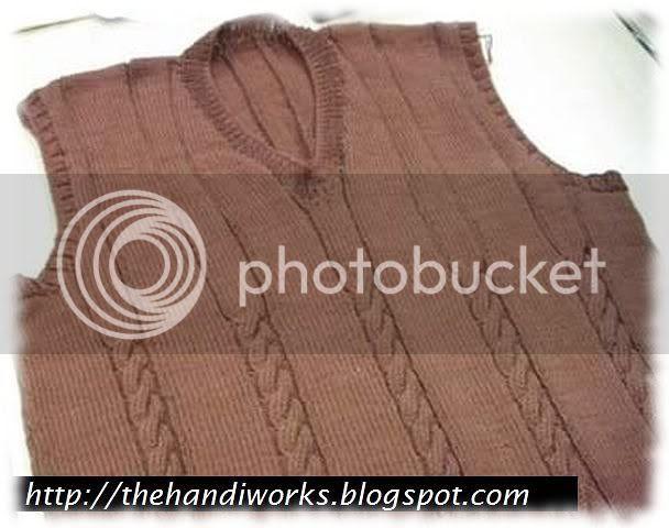 knitting a guy's vest in 7 weeks!