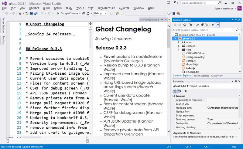 Ghost inside Visual Studio with NTVS