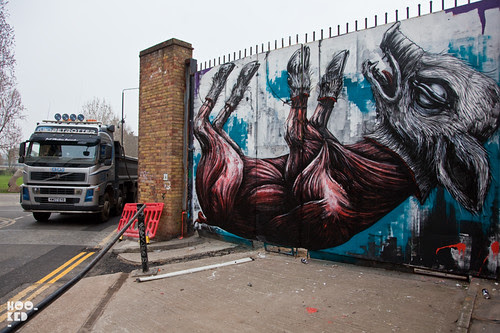 ROA London Animal Mural off Brick Lane, London.