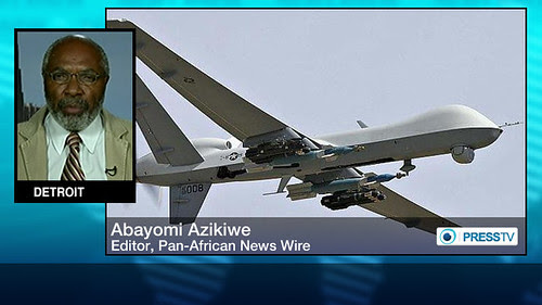 Abayomi Azikiwe, editor of the Pan-African News Wire, on graphic used for Press TV worldwide satellite news broadcast. Azikiwe is an African affairs analyst by Pan-African News Wire File Photos