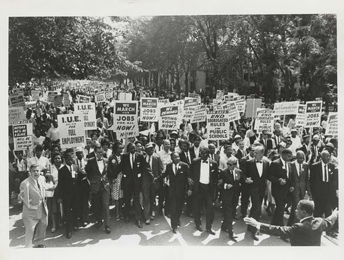 March on Washington for Jobs and Freedom, Martin Luther King, Jr. and Joachim Prinz pictured, 1963
